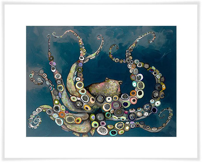 Octopus in the Deep Blue Sea - Paper Giclée Print