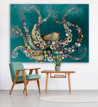 Load image into Gallery viewer, Octopus in the Deep Blue Sea in Teal - Canvas Giclée Print