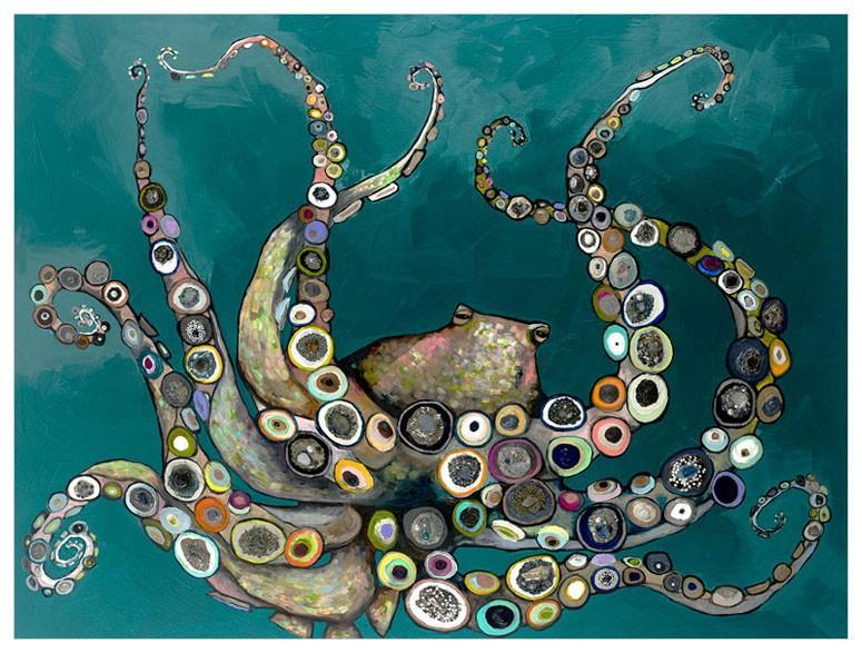 Octopus in the Deep Blue Sea in Teal - Canvas Giclée Print