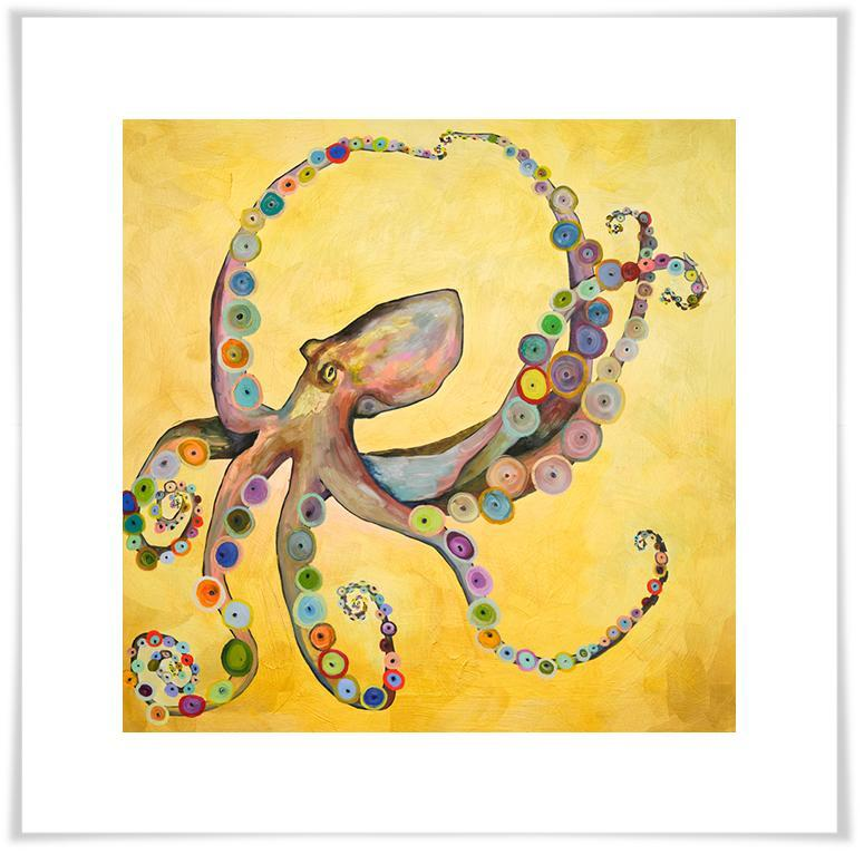 Octopus on Gold - Paper Giclée Print
