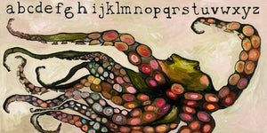Octopus Alphabet on Cream - Canvas Giclée Print