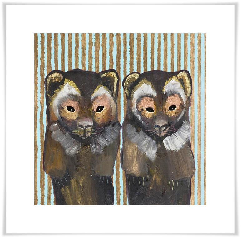 Pair of Wolverines on Stripes - Paper Giclée Print