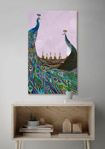 Peachicks on Lavender - Canvas Giclée Print