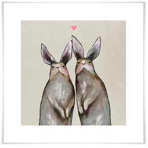 Rabbit Love Neutral - Paper Giclée Print