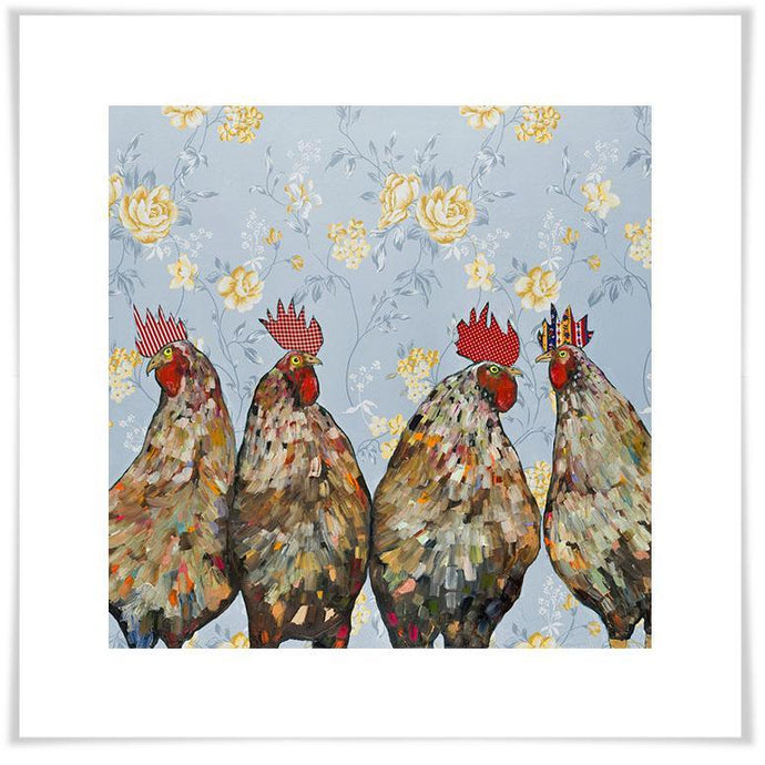 Roosters Floral - Paper Giclée Print