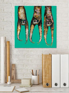 Sloths Hanging Out on Bright Teal - Canvas Giclée Print