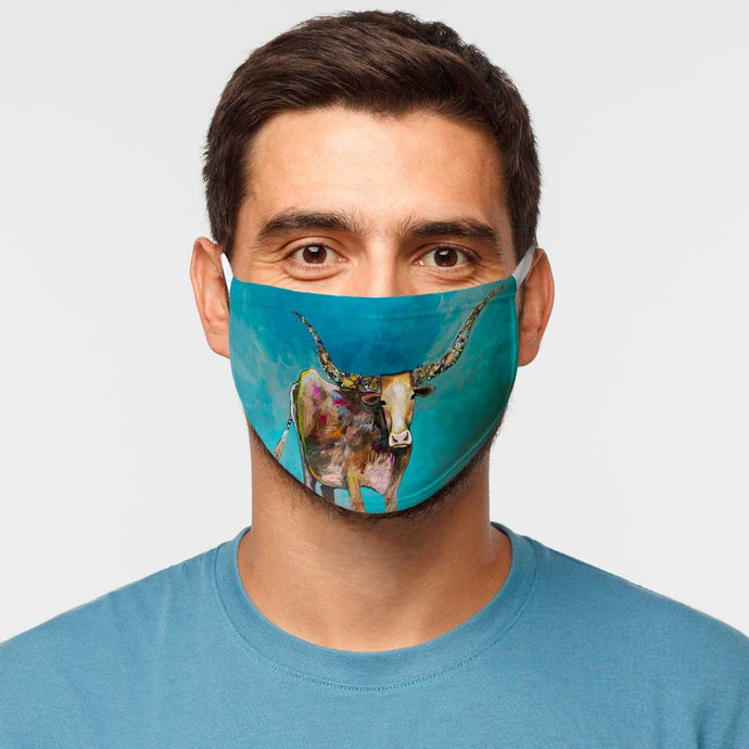 Standing Longhorn Cotton Jersey Face Mask