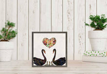 "Load image into Gallery viewer, Swan Love on Pearl White Mini Print 6""x6"""
