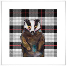 Load image into Gallery viewer, Badger in Tartan - Canvas Giclée Print