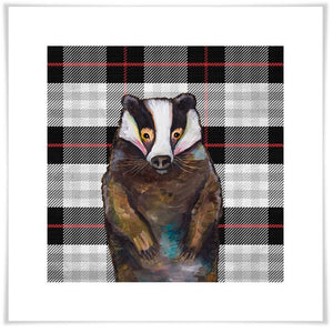 Badger in Tartan - Canvas Giclée Print