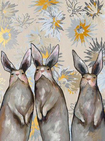 Three Standing Rabbits Floral Metallic Embellished - Canvas Giclée Print