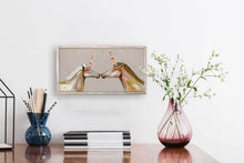 "Load image into Gallery viewer, Unicorns with Patterned Horns - Champagne Mini Print 10""x5"""