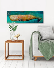 Load image into Gallery viewer, Whale in Seafoam - Canvas Giclée Print