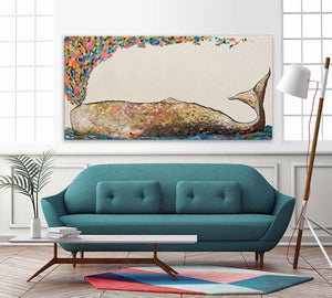 Whale Spray in Antique White - Canvas Giclée Print
