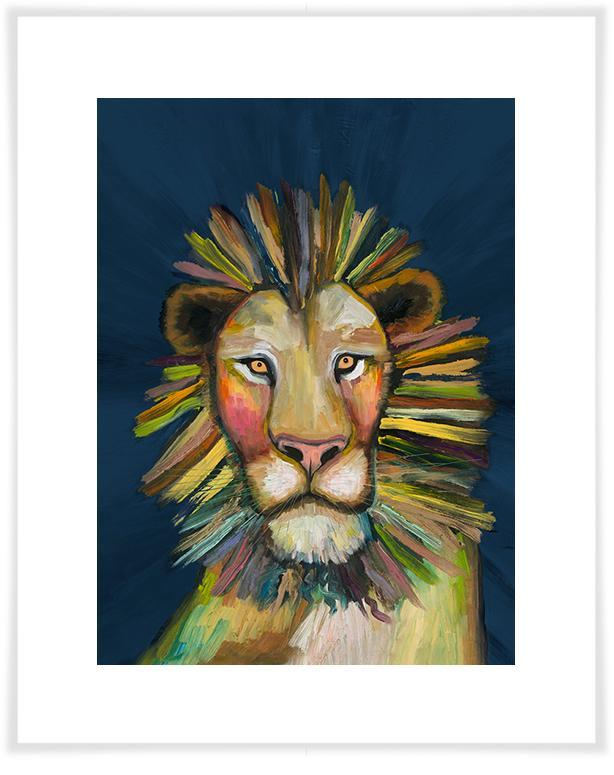 Wild Lion on Blue - Paper Giclée Print