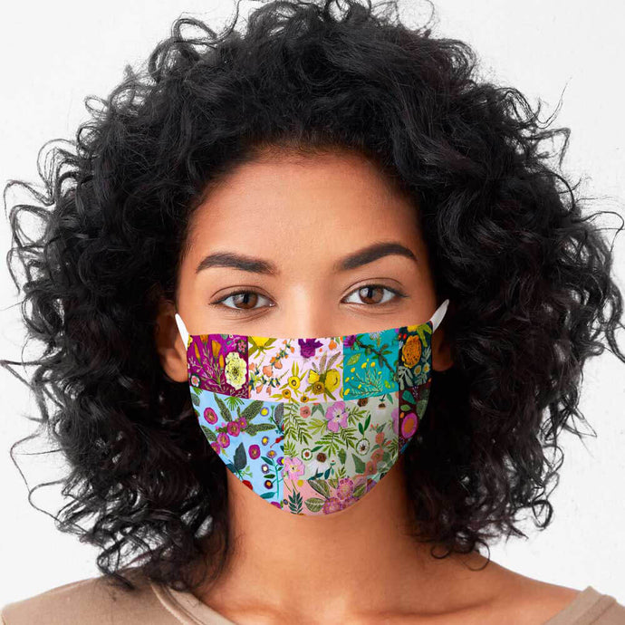Wildflowers Patchwork Cotton Jersey Face Mask NEW FOR SPRING