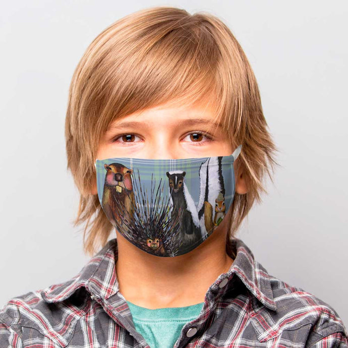 Woodland Crew On Plaid Cotton Jersey Face Mask