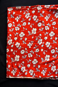 Red and white uncut cotton floral fabric, 90cmx1.5m