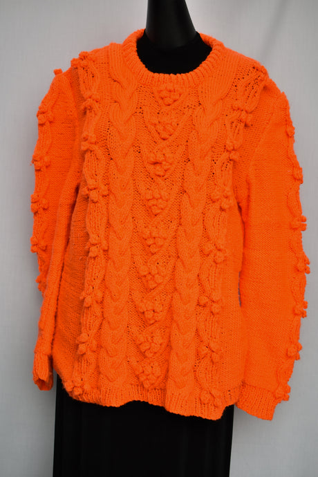 Handknitted funky neon orange jersey, size L
