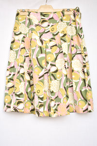 Laura Ashley silk/cotton pastel patterned skirt, size 10