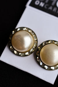 Faux pearl and diamond clip on earrings