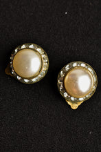 Load image into Gallery viewer, Faux pearl and diamond clip on earrings