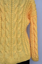 Load image into Gallery viewer, Handknitted funky yellow jersey, size M