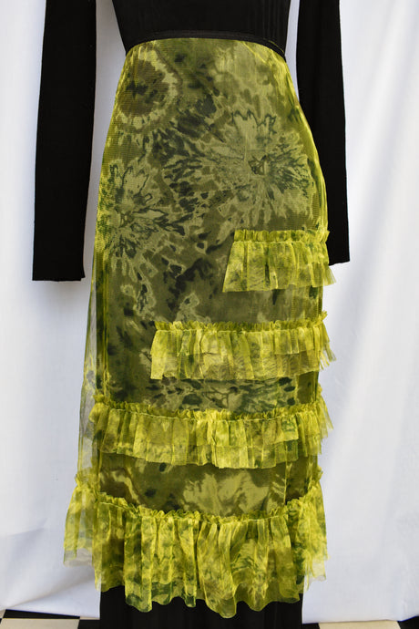 Green and black mesh skirt, size M