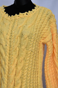 Handknitted funky yellow jersey, size M
