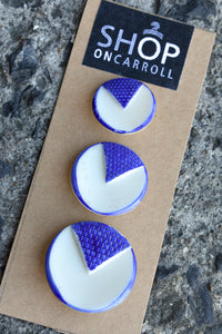 Royal blue and white retro button set, x3