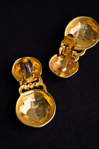 Chunky gold coloured clip on earrings