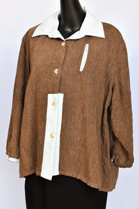 DADA brown and baby blue shirt jacket, size M/OSFM