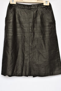 Black leather skirt, size 10