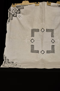 Vintage linen white square tea/table cloth