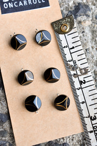 Black and gold small circular buttons, x6