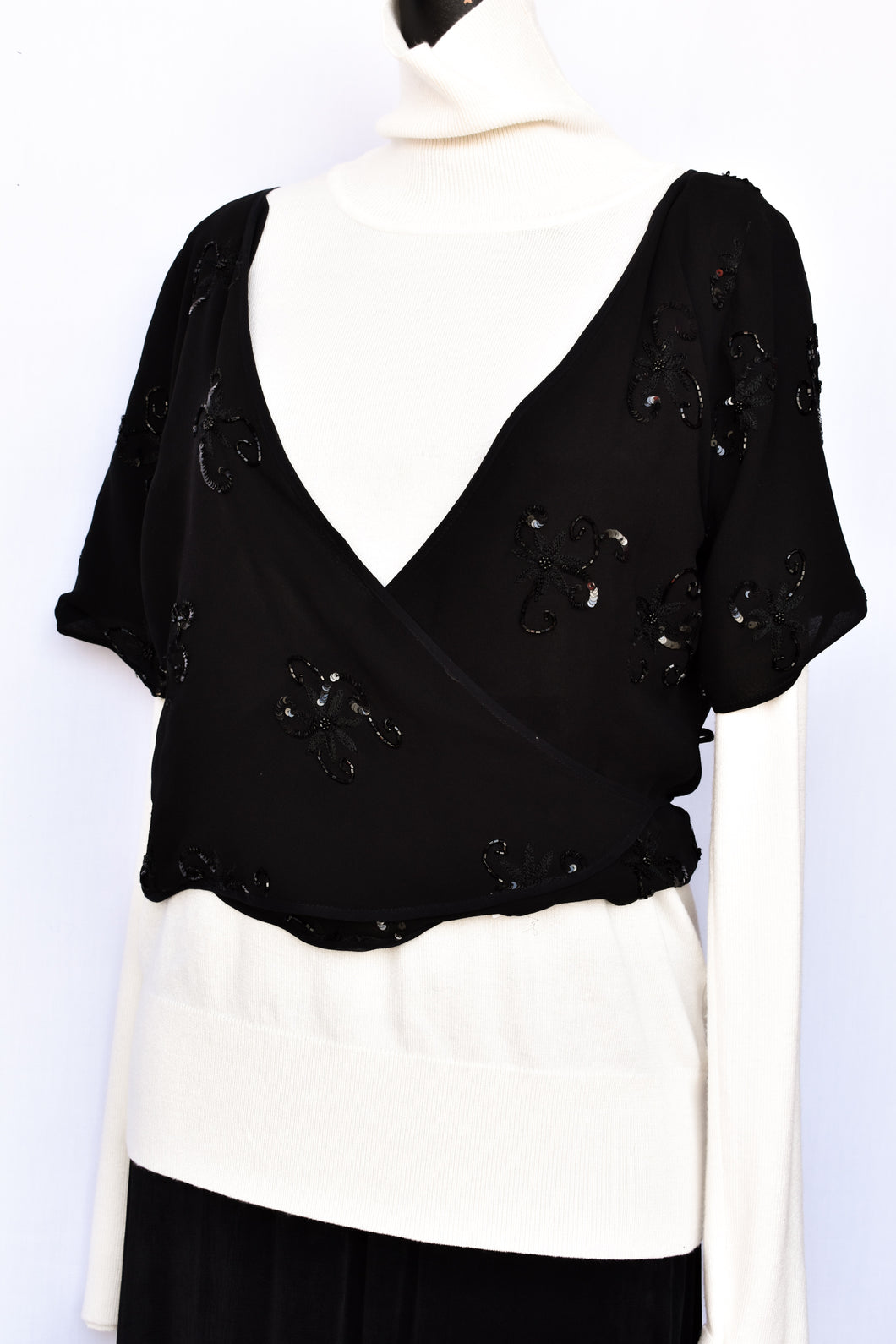Carlson silk sequin wrap top, size 14