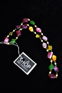 Colourful vintage-style glass necklace
