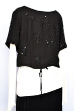 Load image into Gallery viewer, Carlson silk sequin wrap top, size 14