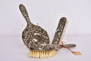 B & Co sterling silver brush and mirror 3 piece set