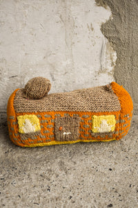 Woollen small house cushion, 31cm wide