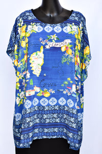Blue Illusion silk patterned top, size 3XL