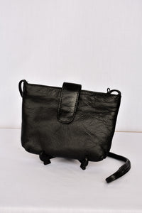 Black small soft leather shoulder bag