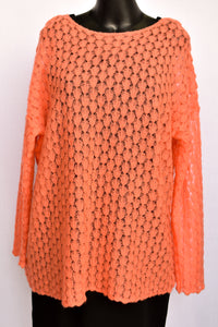 Peach knit jersey, size XL