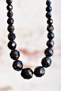 Vintage black (glass or possibly French Jet) beaded necklace