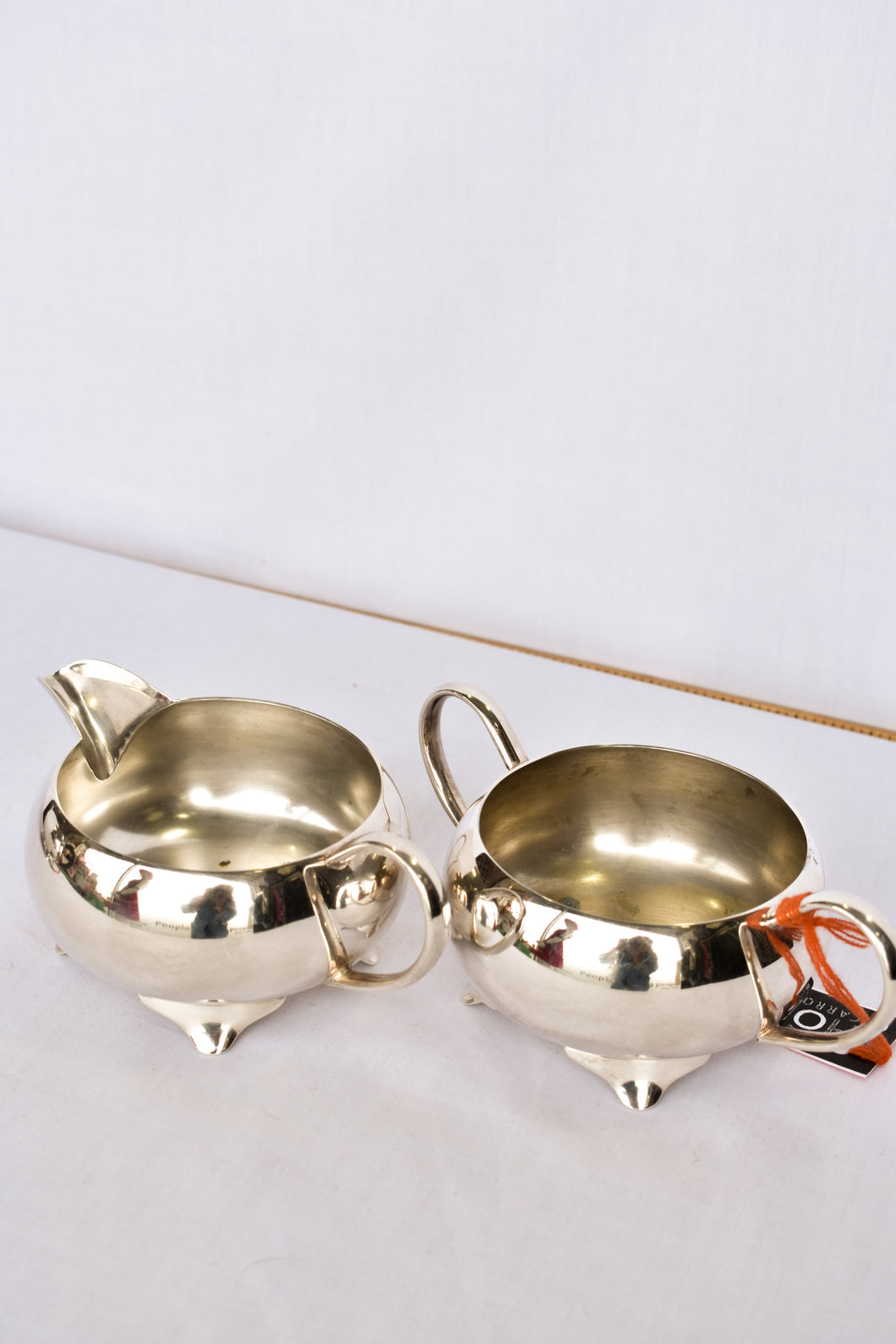 2 piece stainless steel milk jug and sugar bowl