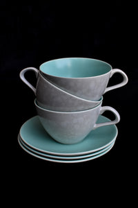 Poole England, set of 3 wide teacups and saucers