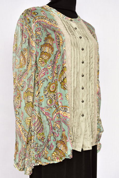 Verge part silk paisley top, size L