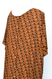 Brown floaty top, size L