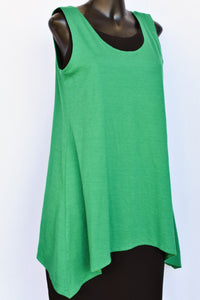 Green NZ merino singlet tunic/top, size 10