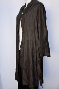 Silk pleated button up dress/jacket, size L